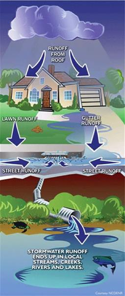 A diagram describing the transition of water to stormwater runoff